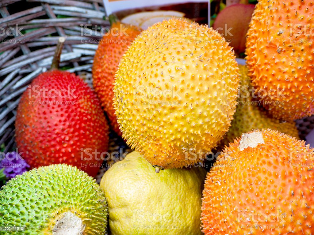 Gac Fruit Or Baby Jackfruit, Cochinchin Gourd, Spiny Bitter Gour stock photo