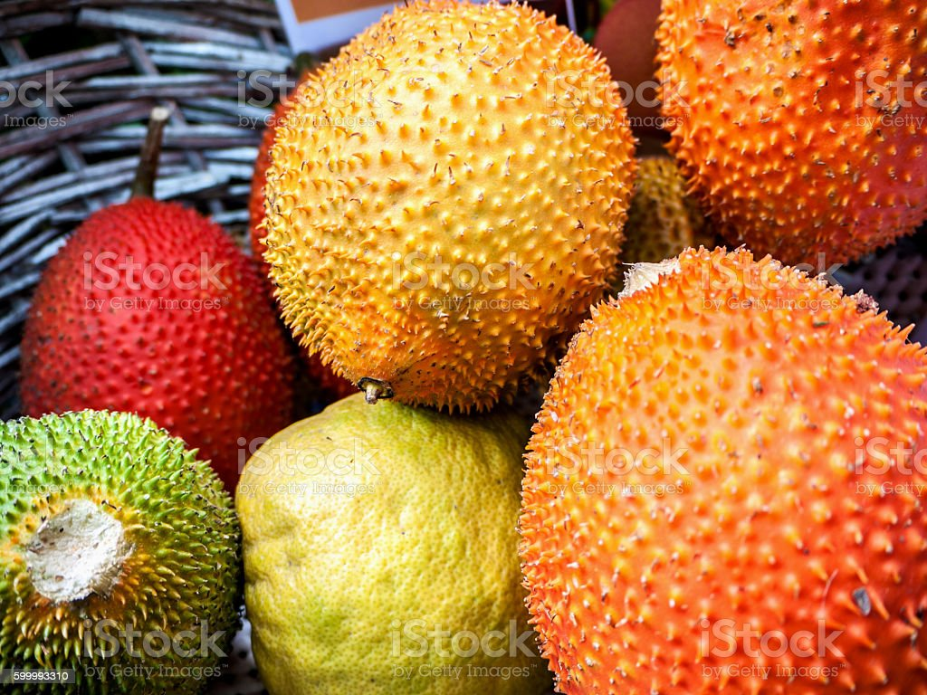 Gac Fruit Or Baby Jackfruit, Cochinchin Gourd, Spiny Bitter Gour stock photo