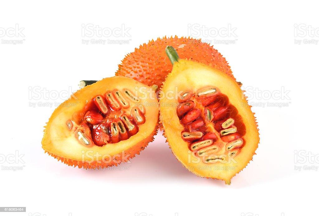 Gac fruit slices isolated on white background stock photo