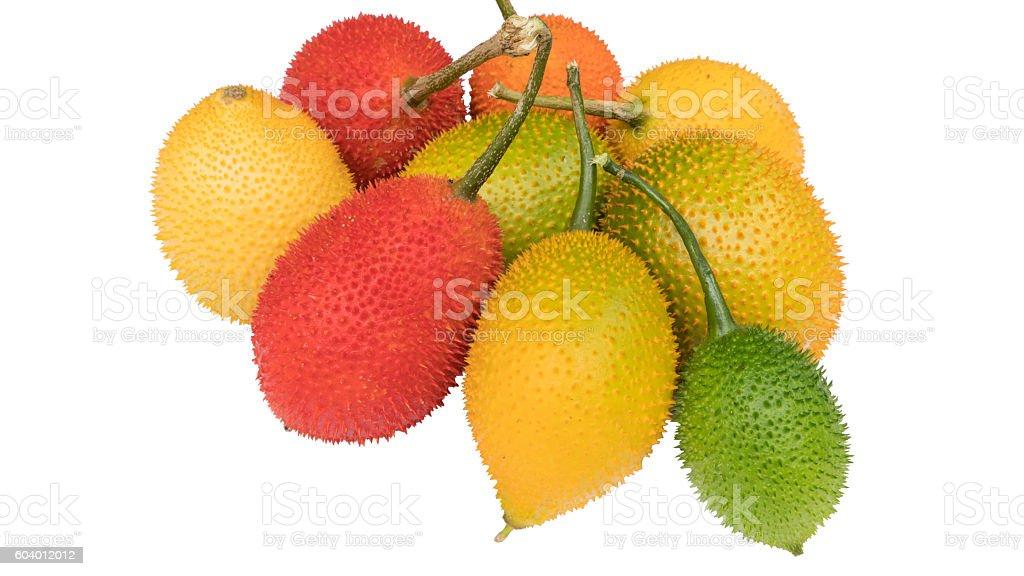 Gac fruits, Momordica cochinchinensis isolated on white background stock photo