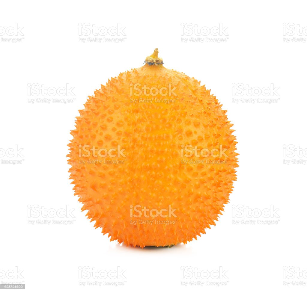 Gac,Baby Jackfruit Spiny Bitter Gourd, Sweet Gourd.A Southeast Asian fruit isolate on white stock photo
