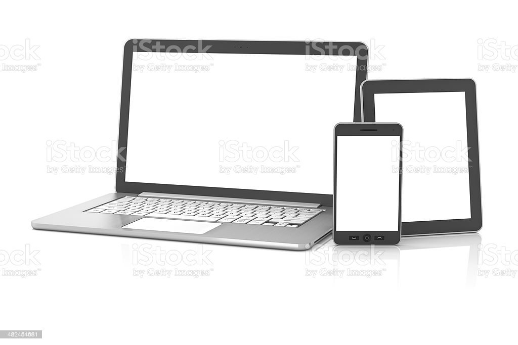 Gadgets including smartphone, smartwatch, digital tablet and laptop, blank screens stock photo