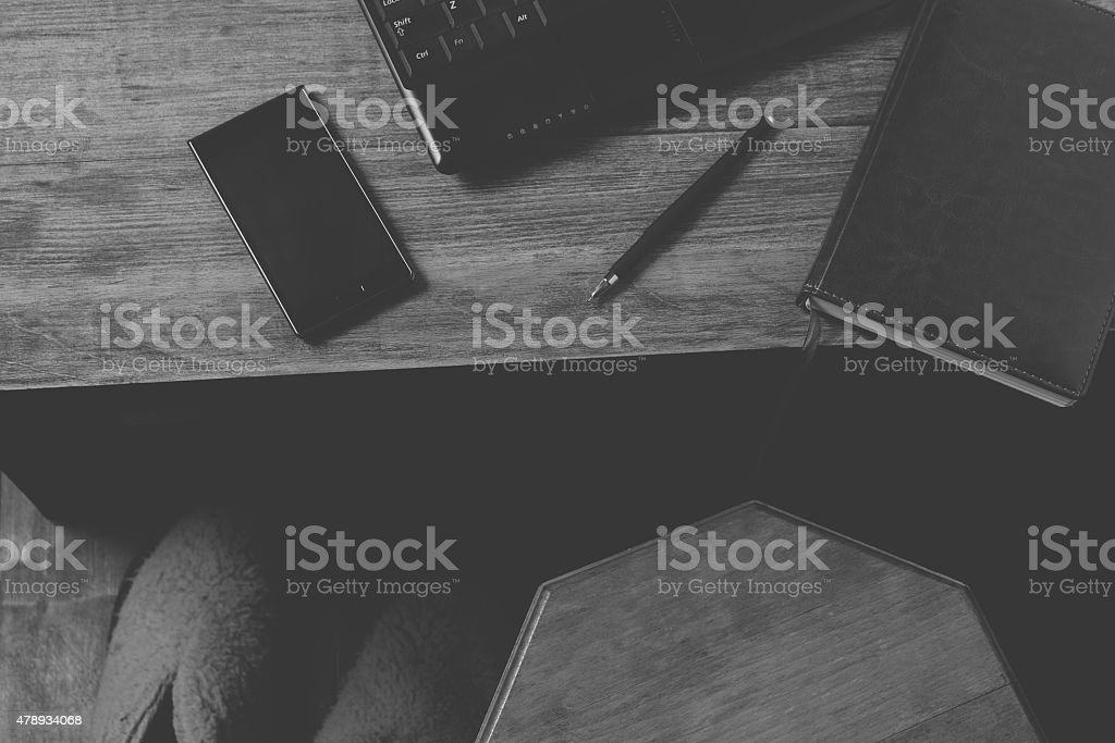 Gadgets on the desktop - laptop, phone and other stock photo
