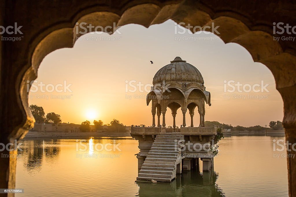 Gadi Sagar - artificial lake view through arch stock photo