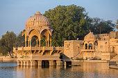 Gadi Sagar - artificial lake view through arch