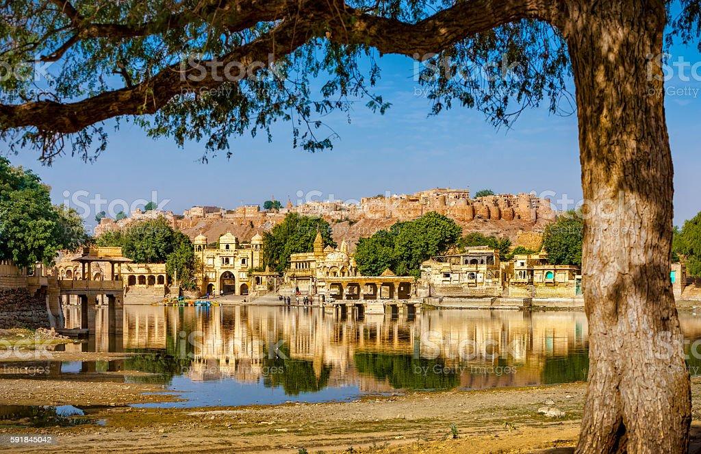 Gadi Sagar (Gadisar), Jaisalmer, Rajasthan, India, Asia stock photo
