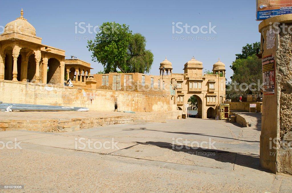 Gadi Sagar Lake, Jaisalmer, Rajasthan, India, Asia stock photo