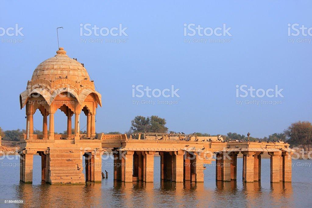 Gadi Sagar temple at Gadisar lake, Jaisalmer, India stock photo