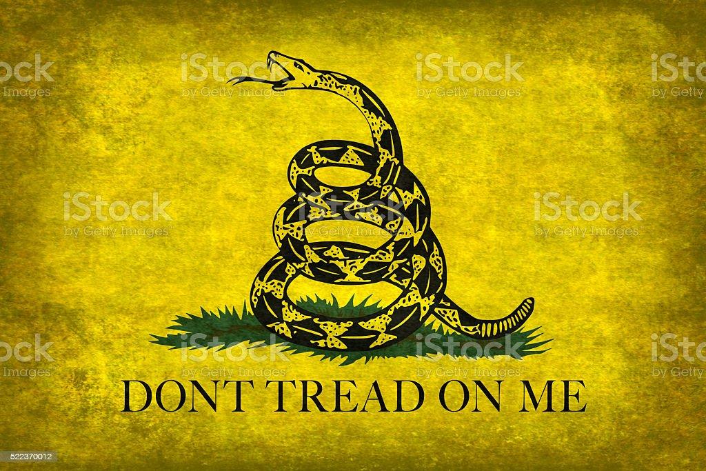 Gadsden Don't Tread On Me Flag, distressed version stock photo
