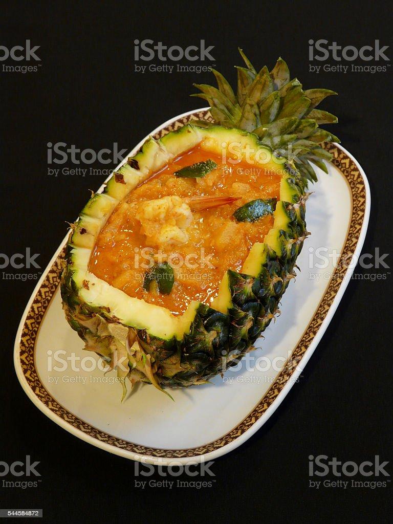 gaeng kua sap pa rod goong red curry pineapple 12 stock photo