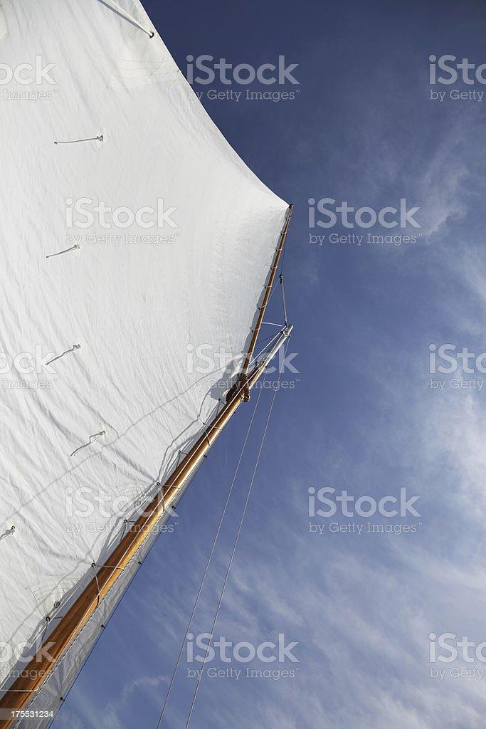 Gaff Rigged Sail on a Yawl stock photo