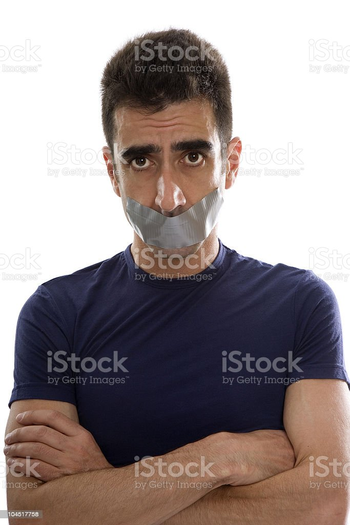 Gaffer Tape Mouth royalty-free stock photo