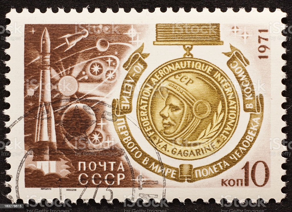 Gagarin on Russian stamp stock photo