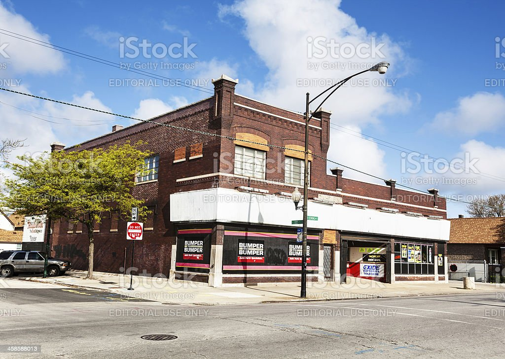 Gahelbing building in East Side, Chicago stock photo