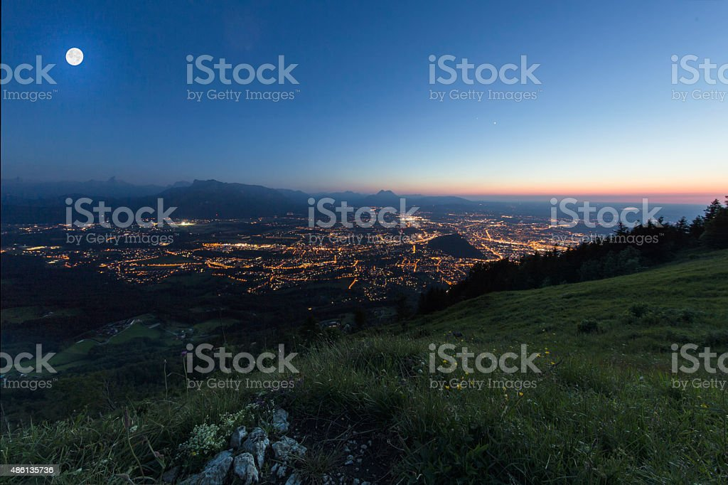 Gaisberg in salzburg, view to the city salzburg stock photo