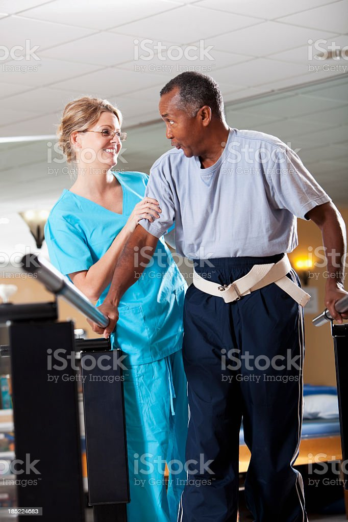 Gait training physical therapy royalty-free stock photo