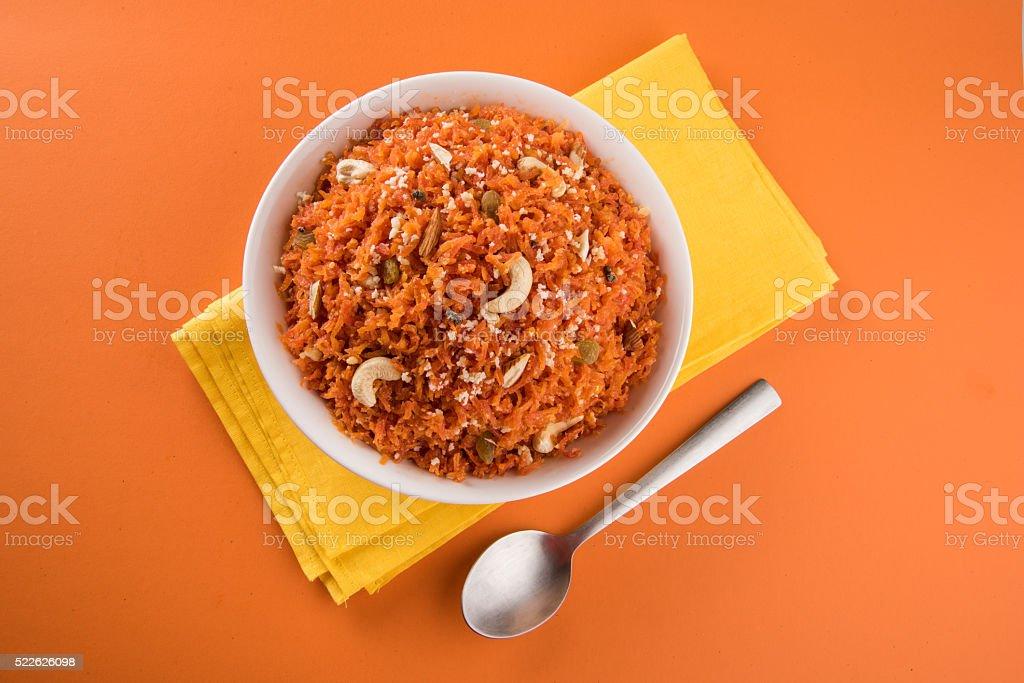 Gajar halwa or carrot halwa, indian sweet stock photo