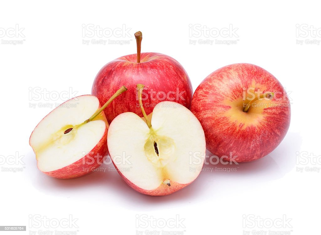 Gala apples isolate on white background stock photo