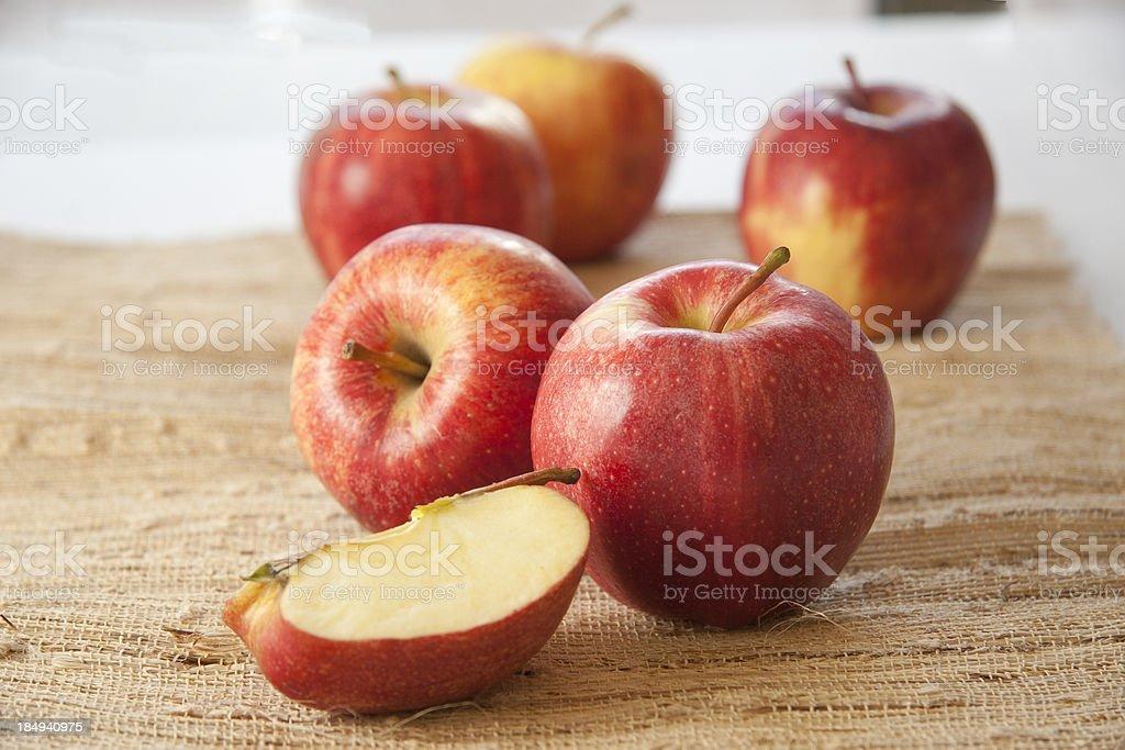Gala Apples on Burlap stock photo