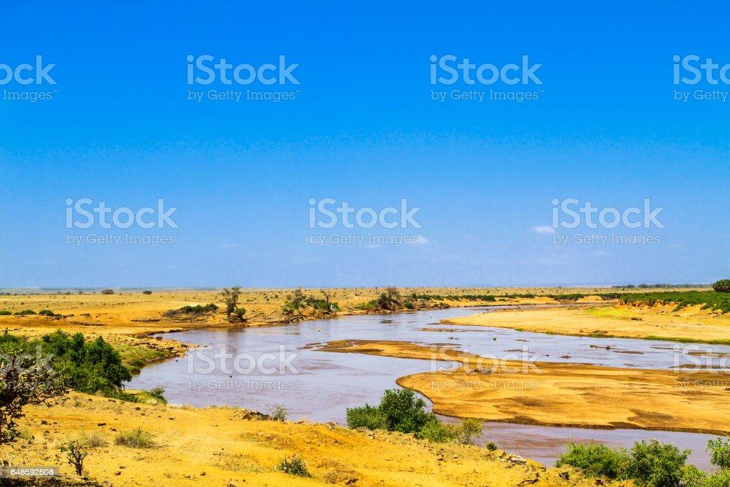 Galana river. Tsavo East park. Kenya. stock photo