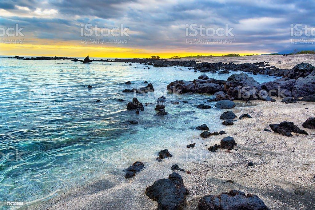 Galapagos Beach at Sunset stock photo