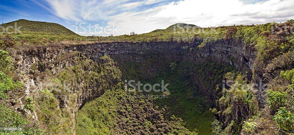 Galapagos Islands pit crater stock photo