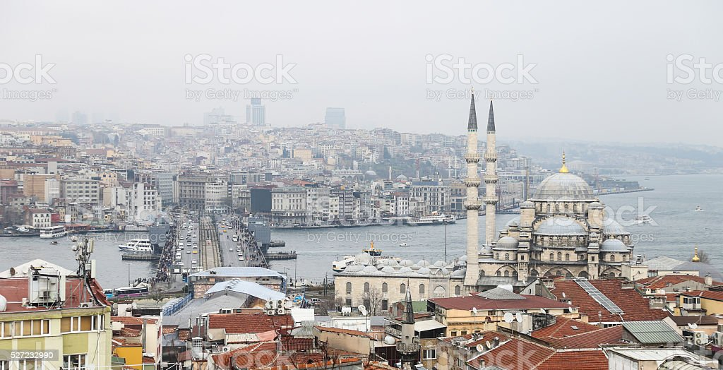 Galata and Karakoy district in Istanbul stock photo