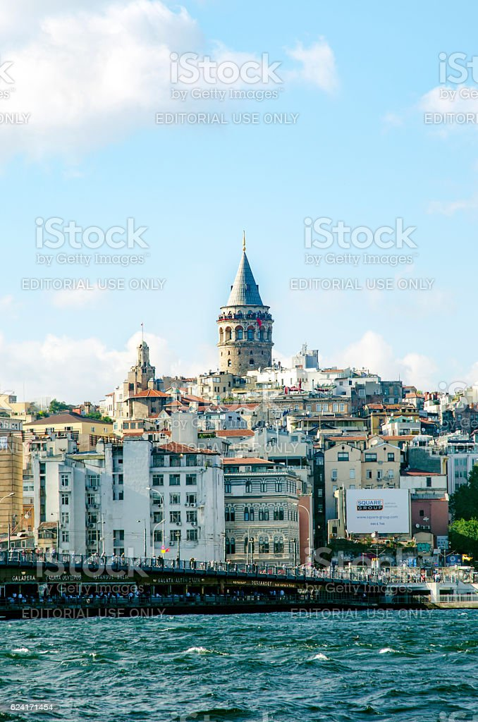 Galata Bridge and Galata Tower in the background, Istanbul views stock photo