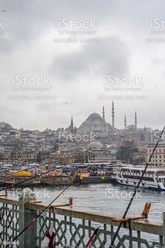 Galata bridge and Süleymaniye Mosque in Istanbul stock photo