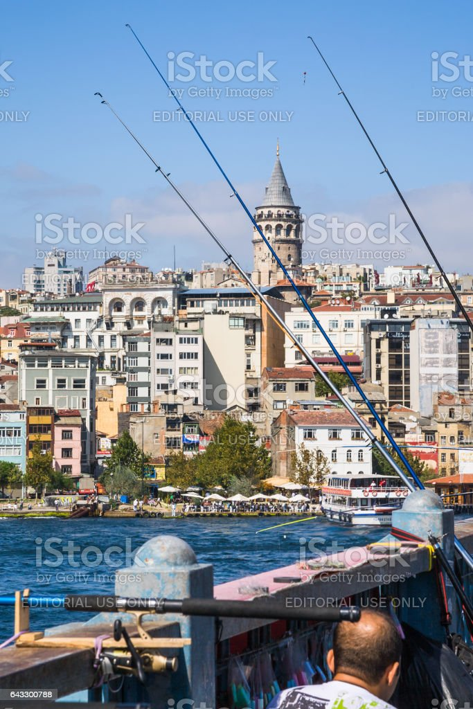 Galata bridge and view of Tower in Istanbul stock photo