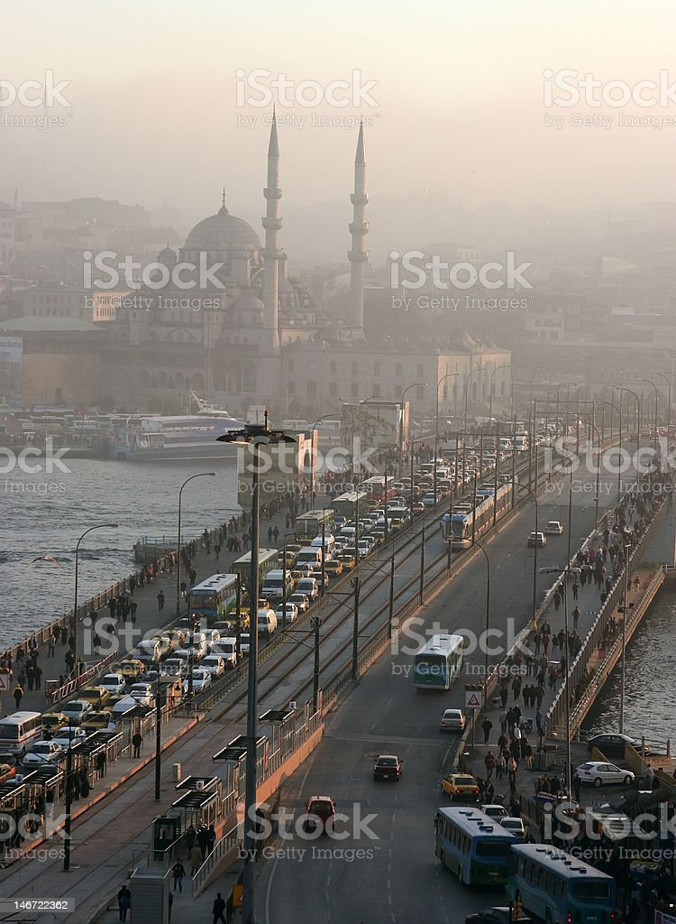Galata Bridge in Istanbul royalty-free stock photo