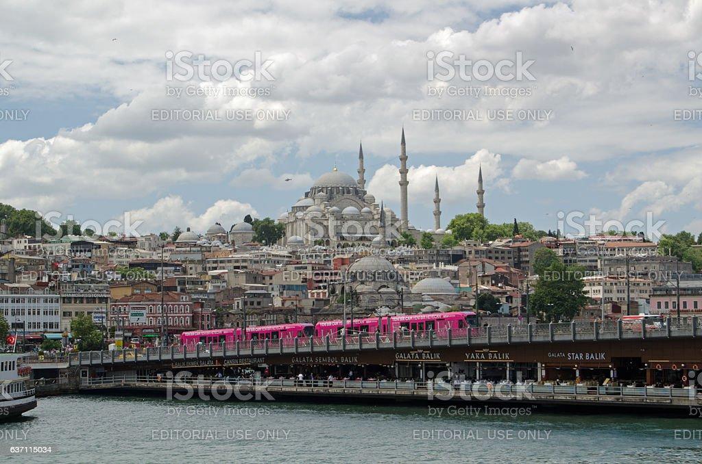 Galata Bridge, Istanbul stock photo