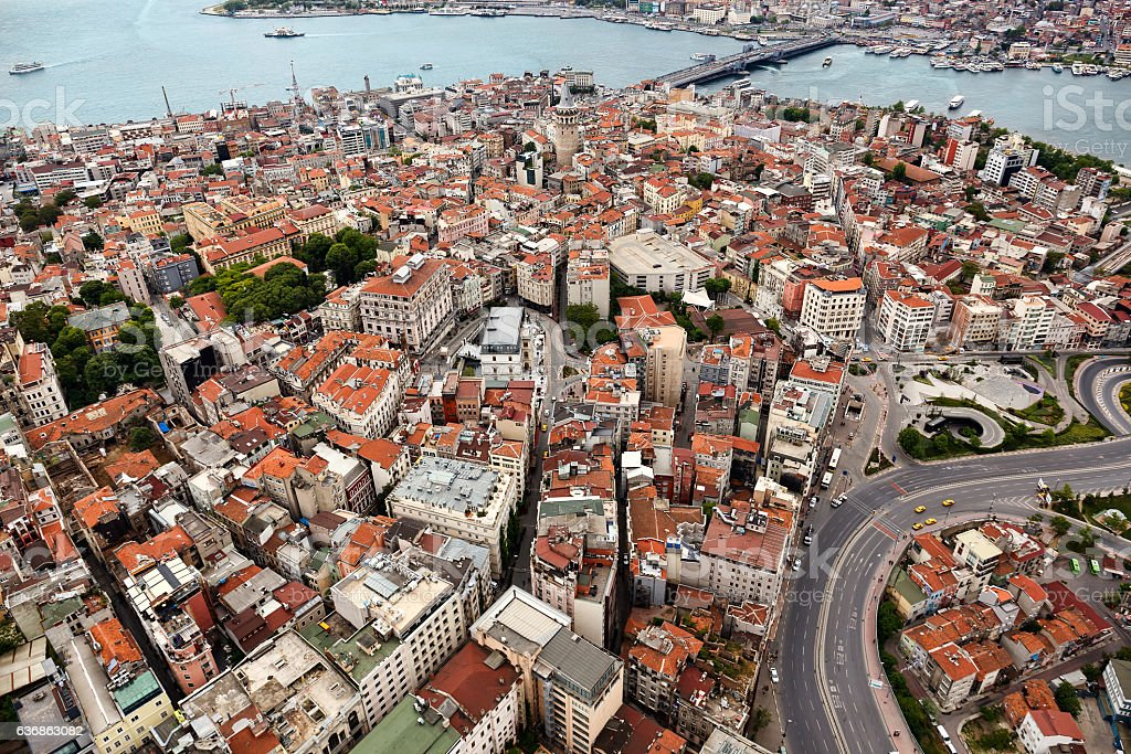 Galata district of Istanbul from air. stock photo