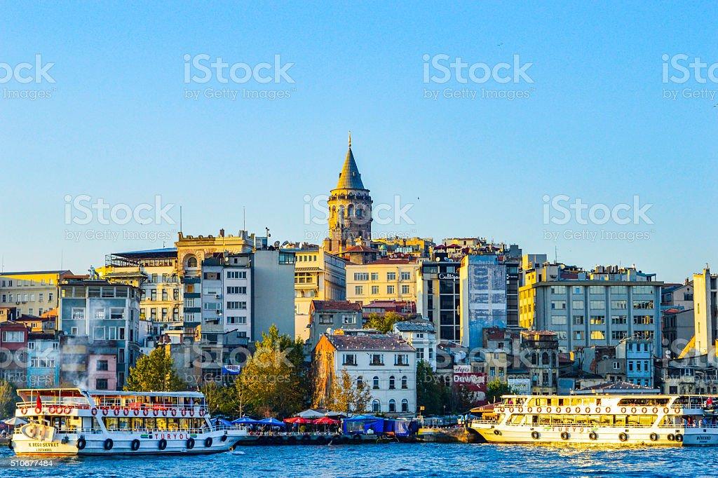 Galata district skyline - Istanbul , Turkey stock photo