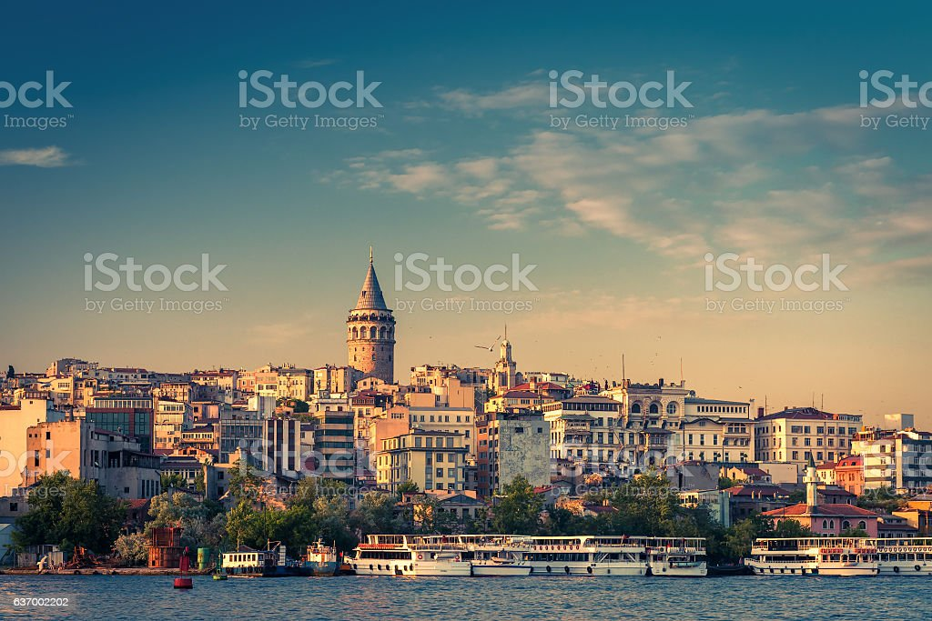 Galata district with Galata Tower in Istanbul stock photo
