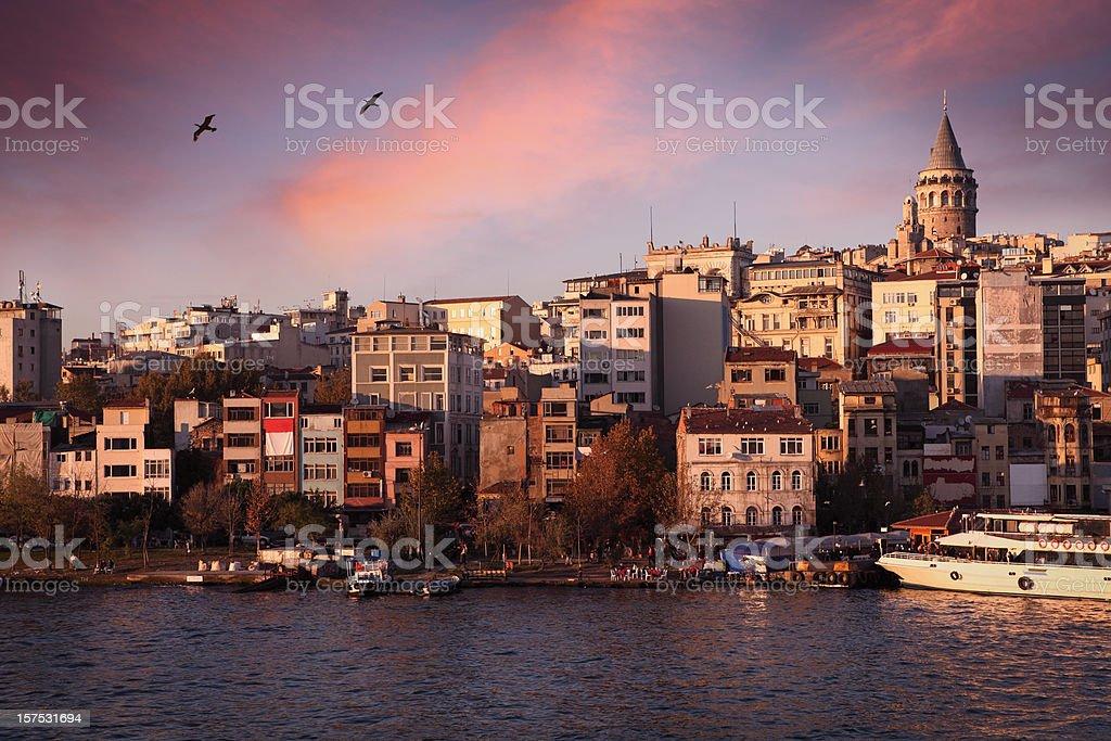 Galata Tower and Beyoglu District in Istanbul stock photo