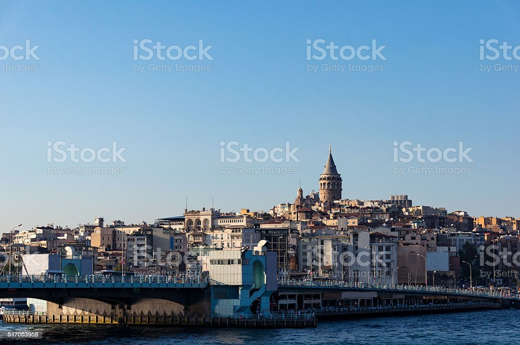 Galata Tower and Bridge with view of Karakoy quarter. Istanbul stock photo
