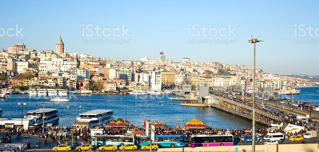Galata Tower and Golden Horn Bay in Istanbul, Turkey stock photo