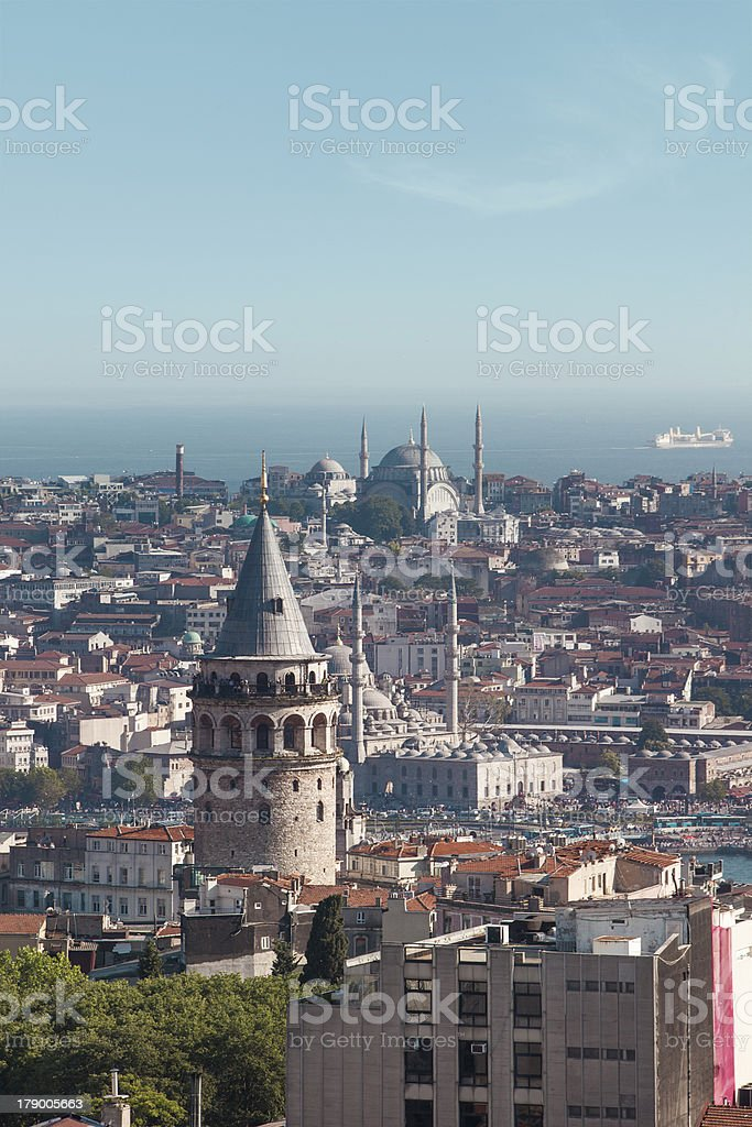 Galata Tower and Istanbul stock photo