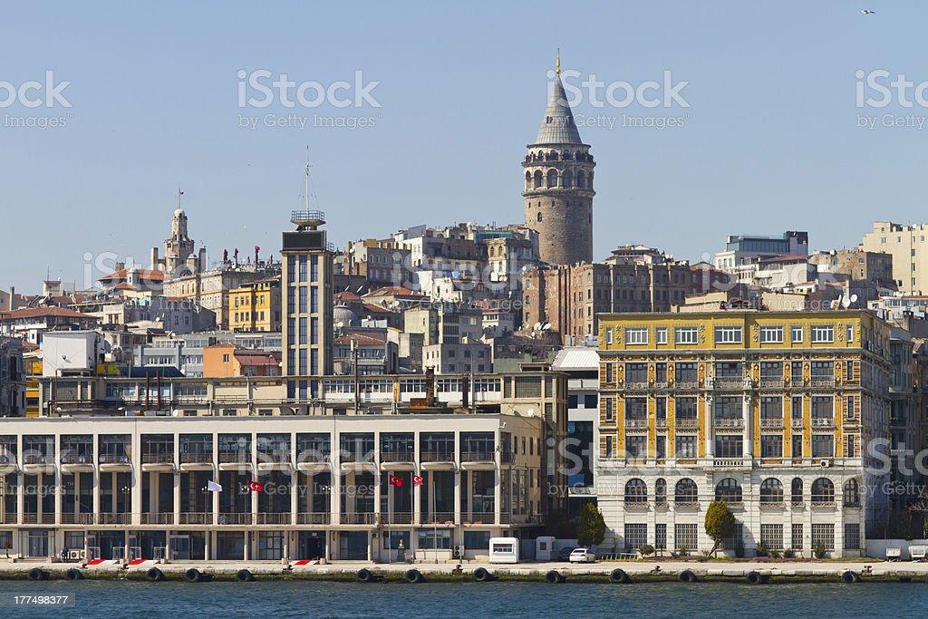 Galata Tower and Karakoy royalty-free stock photo