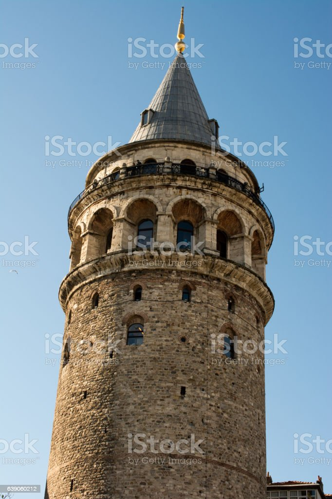 Galata Tower from Byzantium times in Istanbul stock photo