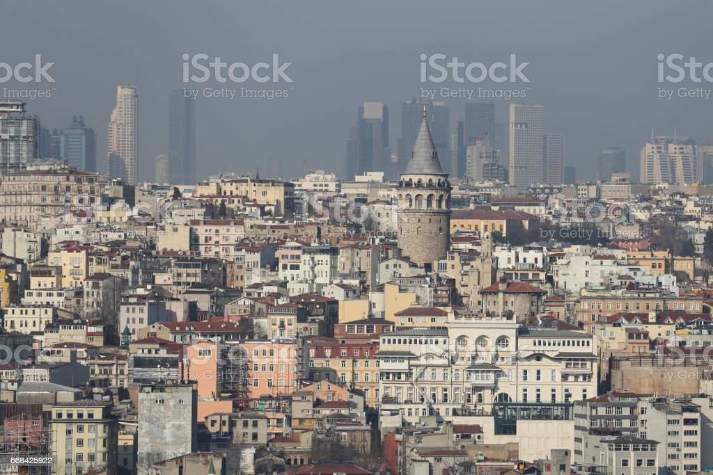 Galata Tower in Istanbul City stock photo