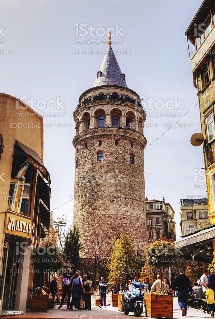 Galata Tower (Christea Turris) in Istanbul, Turkey stock photo