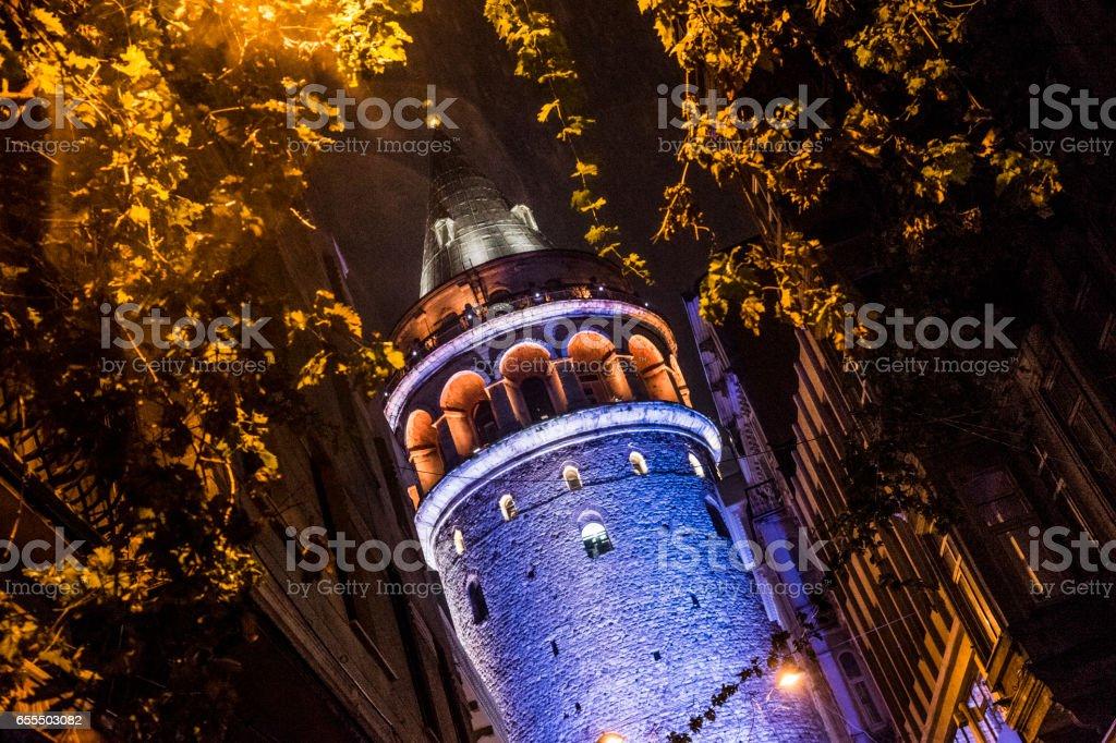 Galata Tower in night stock photo