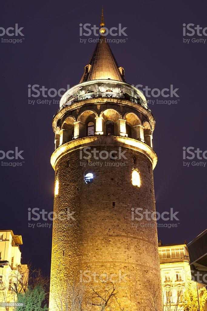 Galata Tower Istanbul at Night stock photo