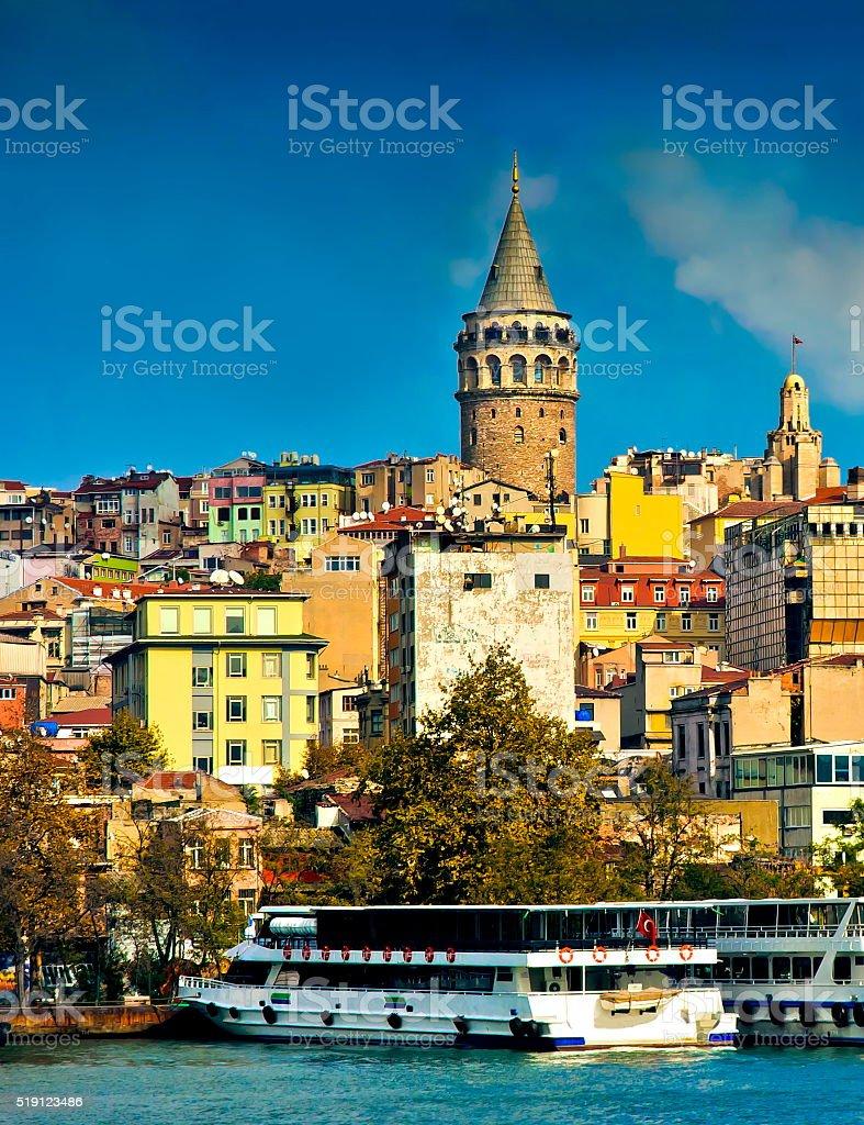 Galata tower Karakoy Istanbul stock photo