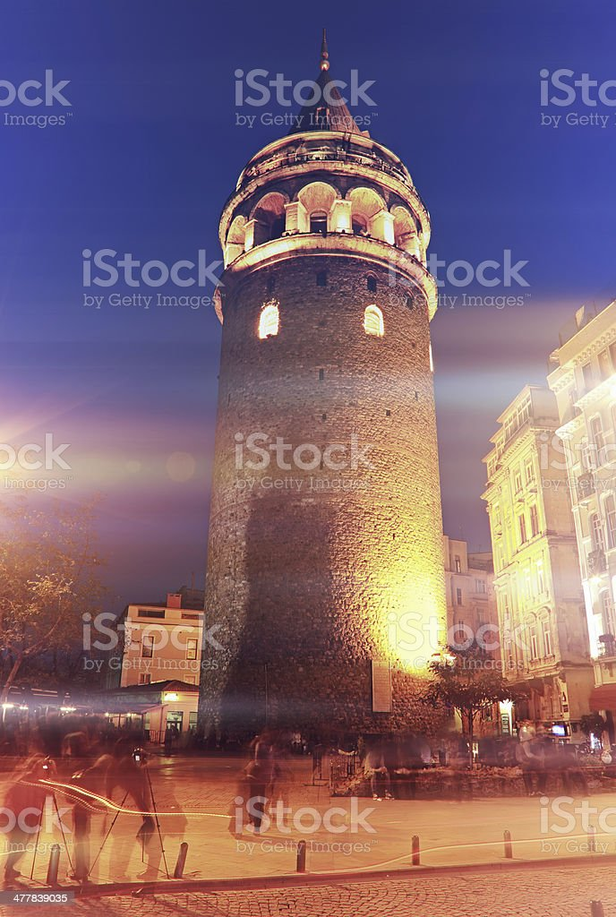 Galata Tower Night stock photo