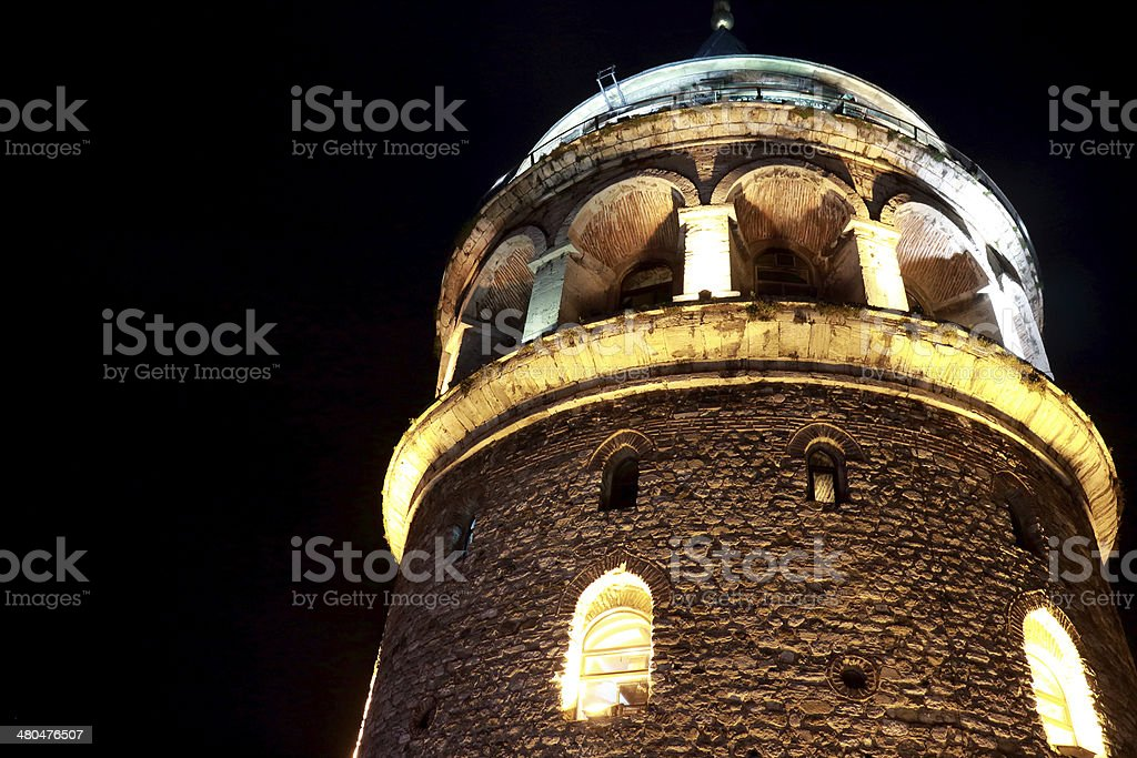 Galata Tower Night View In Istanbul stock photo
