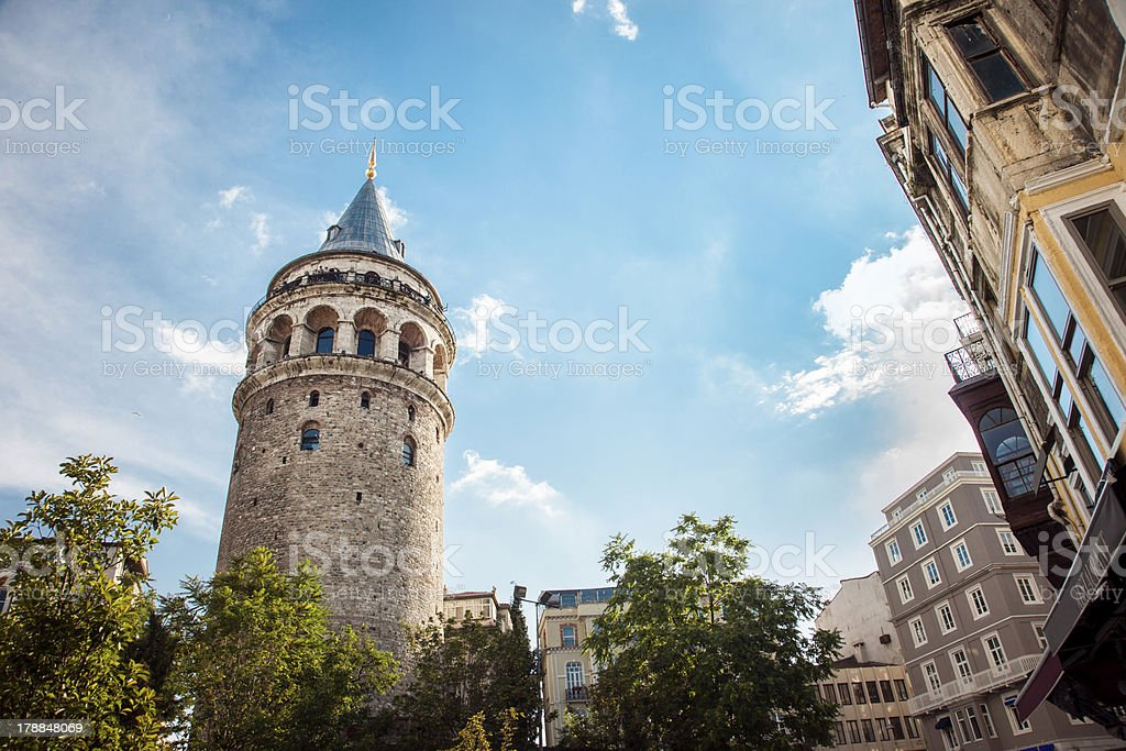Galata Towers and Old Buildings stock photo