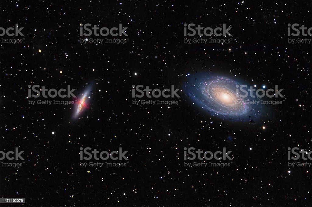 Galaxies M81 and M82 in Ursa Major royalty-free stock photo